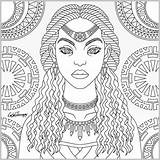 Coloring Pages Adult Queen Tribal Afro Adults African Books Printable Blank Sheets Therapy App Colouring American Inspirational Getcolorings Discover Teens sketch template