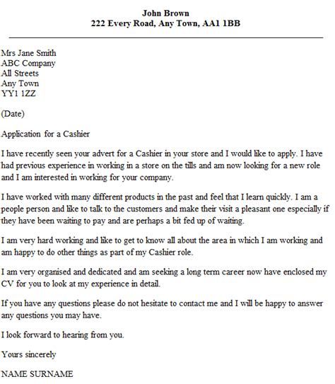 cover letter cashier customer service