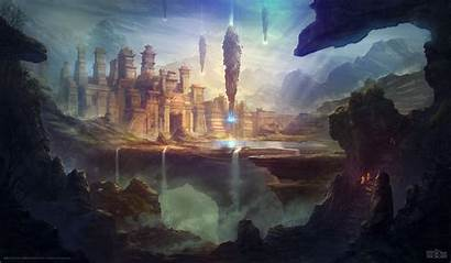 Fantasy Temple Cave Digital Sun Waterfall Futuristic