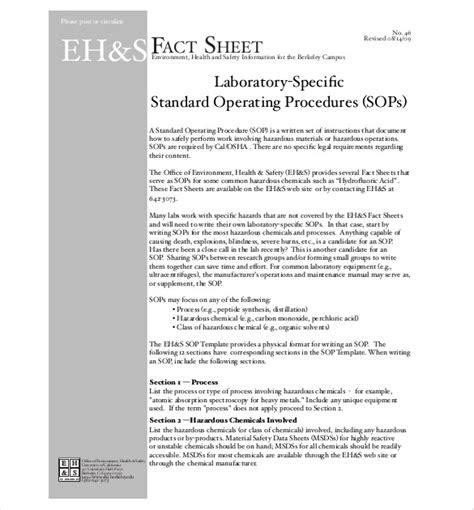 free standard operating procedure template word 2010 13 standard operating procedure templates pdf doc free premium templates