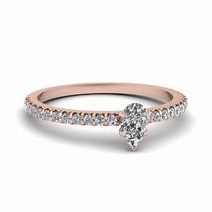 Small pear affordable diamond engagement ring band in 14k for Tiny wedding ring