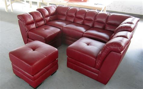 cheap red  shaped sofa   sectional leather sofa