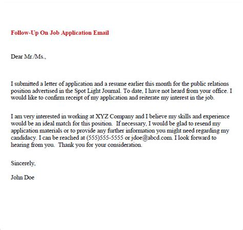 Application Followup Email by Sle Follow Up Email 5 Exles Format