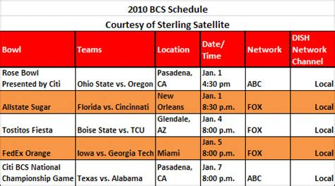 college bowl games   dish network