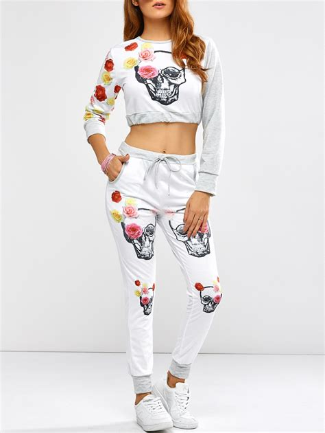 Casual Rose Skull Print Crop Top and Pants in White ...