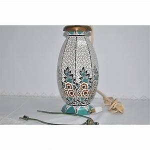Lampe Art Deco : lampe de table poque art d co en c ramique motif floral ~ Teatrodelosmanantiales.com Idées de Décoration