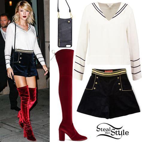 Taylor Swift: White Top, Velvet Navy Shorts   Steal Her Style