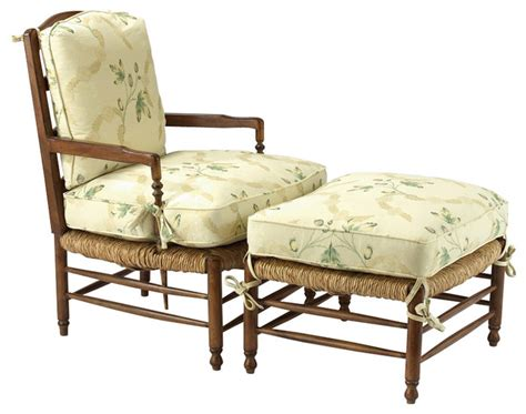 Louis J Solomon Country French Armchair And Ottoman