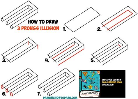 draw optical illusions templates how to draw 3 prongs optical illusion easy step by step