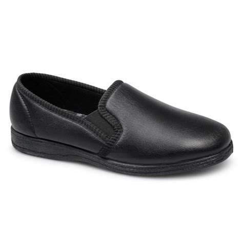 Sleeper For Mens by Sleepers Hadley Mens Leather Warm Soft Slippers Black
