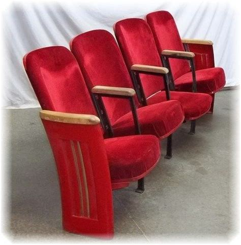 4 velvet theater seat vintage chair deco