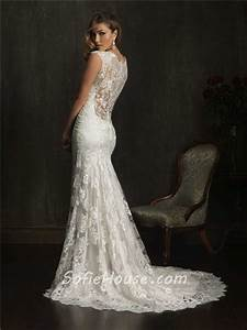 dramatic mermaid cap sleeve v neck lace wedding dress with With lace sheer back wedding dress