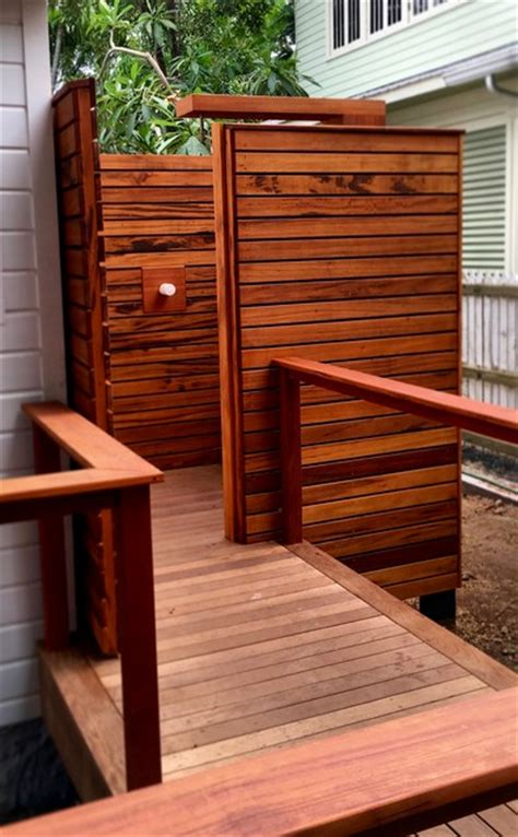 Ipe Shower Bench by Ipe Deck With Mahogany Bench And Tigerwood Outdoor Shower