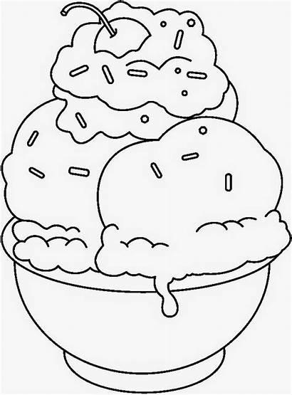 Ice Cream Sundae Clipart Coloring Disegni Hitam
