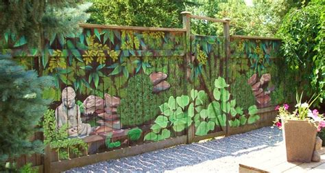 backyard fence decorating ideas fence murals 2017 grasscloth wallpaper