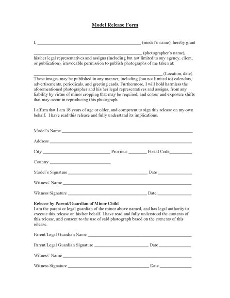 Standard Model Release Form Template by Standard Model Release Form Release Forms Release Forms