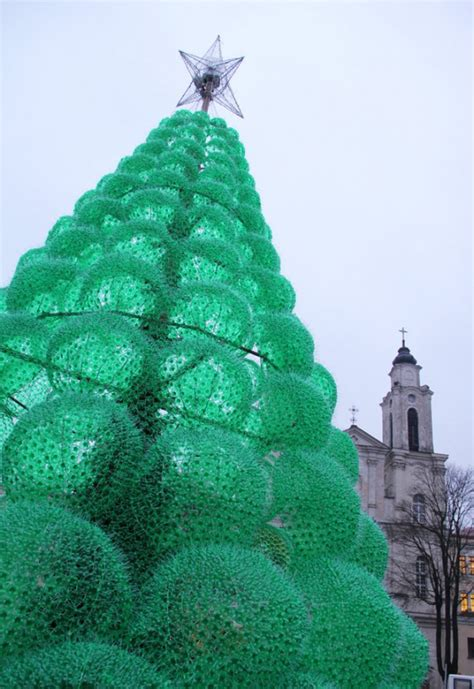 eco friendly christmas tree made from recycled bottles