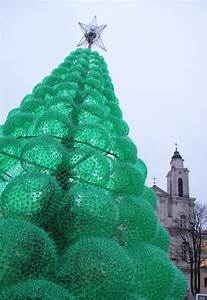 A frugal town in lithuania erects a christmas tree made for Christmas tree made from 40000 recycled plastic bottles