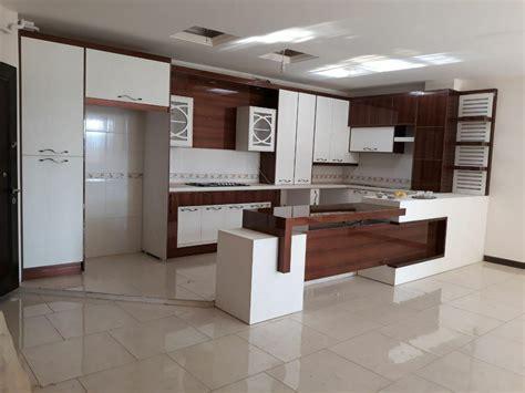 kitchen slab design کابینت مدرن حجمی سفید طرح چوب بانک نجاران 3071