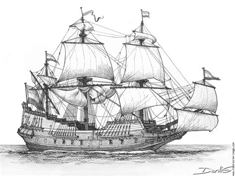 Dessin Bateau 3 Mats by Drawing Of The Dutch Ship Batavia Which Was Wrecked Off