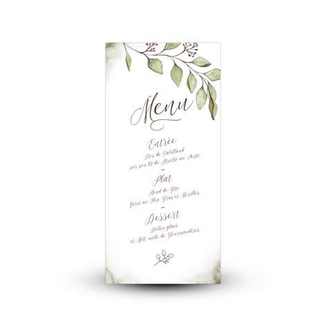 decoration de table mariage menu eucalyptus peint