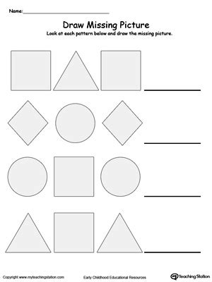 preschool patterns printable worksheets 608 | Draw Missing Picture Shapes