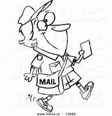 Worker Postal Coloring Template Leishman Ron Templates Cartoon Mail sketch template