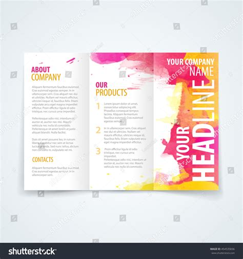 Brochure Design With Trifold Colorful Template Vector Design Template Trifold Brochure Colorful Stock