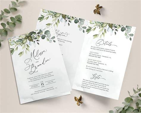 Folded Wedding Invitation Template With Greenery Bi Fold