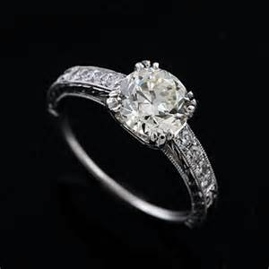 vintage solitaire engagement rings platinum vintage style engraved engagement ring setting orospot
