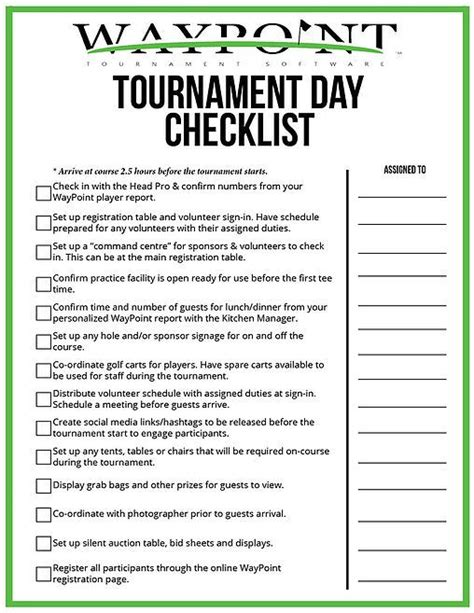 tournament day checklist waypoint great golf