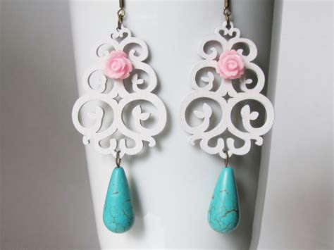 shabby chic jewellery turquoise earrings shabby chic jewelry pink by adornmentsbydebbie