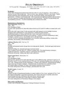 vice president of sales resume exle sle resume march 2015