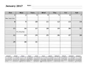 2017 Monthly Calendar Printable 12 Months