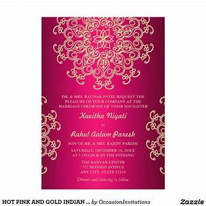 Hot pink and gold indian style wedding invitation party for Images of hindu wedding invitations