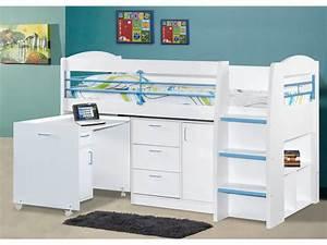 Lit Enfant Combiné : lit combin dido ii 90x190 cm rose bleu option matelas ~ Farleysfitness.com Idées de Décoration