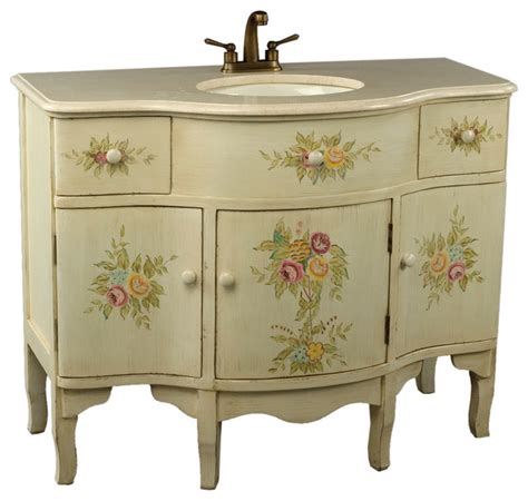 Where To Buy A Vanity by White Vanity Sink With Floral Design And Beige Marble