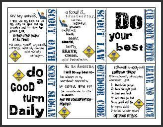 cub scout oath law  motto cards instant printable