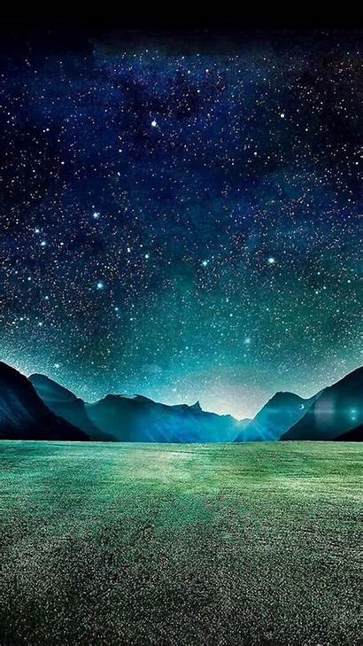 Night Sky Iphone Dark Mountain Starry Field