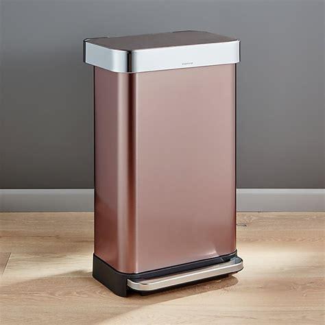simplehuman  liter gallon rose gold rectangular step  reviews crate  barrel
