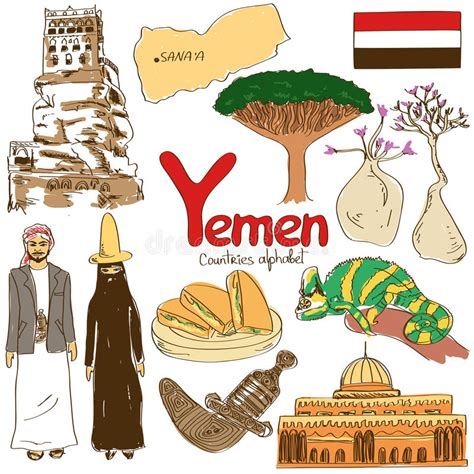 collection  yemen icons stock vector illustration