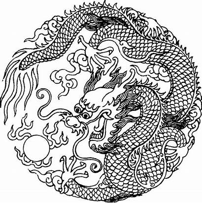 Dragon Coloring Asian Stencil Tattoo Chinese Yang