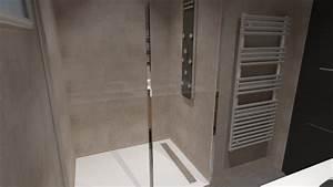 Salle de bain bois beige blanc gris avec douche italienne for Douche à l italienne porte coulissante