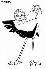 Coloring Storks Delivering Printable Ecoloringpage sketch template
