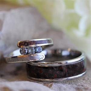 unique bridal set with meteorite and dinosaur bone With dinosaur wedding ring