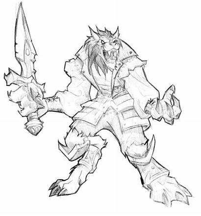 Warcraft Worgen Cataclysm Sketch Concept Coloring Pages