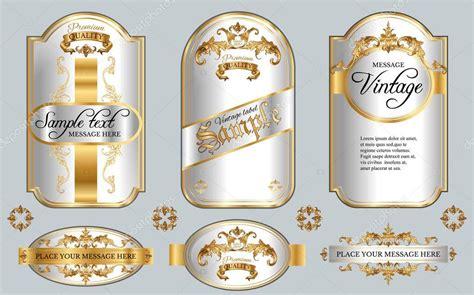 Cornici Per Etichette Etichette Bianche Con Cornice Oro Vettoriali Stock