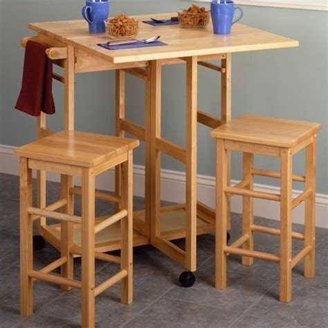 Drop Leaf Table/Kitchen Cart with 2 Stools in Natural