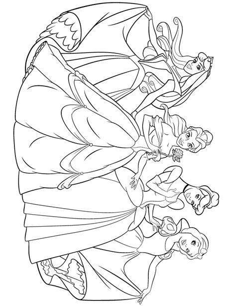 princesses aurora belle cinderella snow white coloring