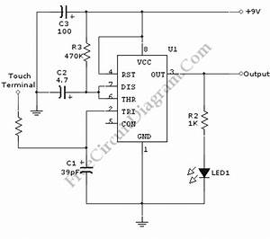 touch switch monostable timer with 555 ic circuit diagram With touch switch ii